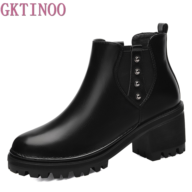 GKTINOO Platform Shoes Women Ankle Boots Soft Leather Thick high Heel Platform Boots Winter Autumn Boots Warm Fur Big Size<br>