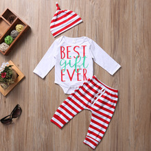 3PCS Set Newborn Toddler Baby Boys Girls Clothes Best Gift Ever Bodysuit Striped Pants Hat Bebes Outfits