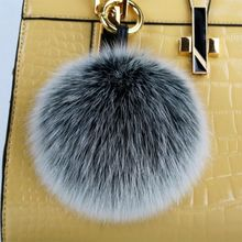 Fashion Accessories BAG Bugs Charm Snow Grey Fox Furry Handbag Charm PomPoms Frost Grey Genuine Fox Fluffy Puffs Ball Tote Charm(China)