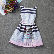 Pretty Girls Dresses Summer Brand Girls Clothes Blue Stripe Kids Party Dresses For Girls School WearTeenagers Princess Costume