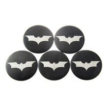 5pcs 50MM Batman Logo Car Tyre Steering Wheel Center Hub Cap Auto Wheels Emblem Stickers For Chevy Dodge Ford Toyota Honda #4682