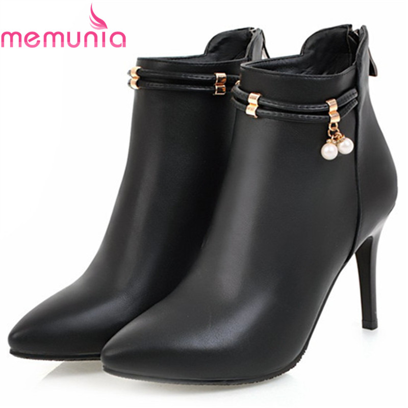 MEMUNIA black red beige women boots fashion pointed toe zipper ladies boots thin heel autumn winter ankle boots big size 33-43<br>