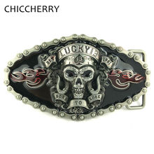 Cool Punk Rock Lucky 13 Skull Mens Metal Belts Buckle DIY Male Jeans Pants Accessories Fivela Caveira De Cinto Boucle Ceinture(China)