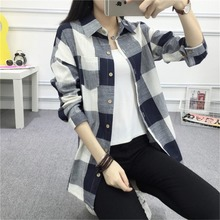 Factory direct sales Elastic high quality Large size XL-4XL woman shirt long Long sleeve lattice female shirt