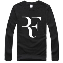 2016 New Fashion Roger Federer T Shirts Round collar Long Sleeve Cotton Mens Shirt Man Clothing free delivery
