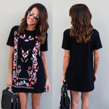 Buy New Arrival 2017 Summer Fashion Women Clothing Casual Short Sleeve Print Dresses Loose Plus Size Long T Shirt Mini Dress Vestido for $8.99 in AliExpress store