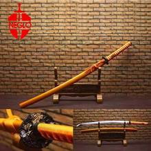 Home Decor Katana Sword All handmade Japanese Sword 1060 forged steel Alloy tsuba Yellow scabbard Crafts Practical Sharp(China)
