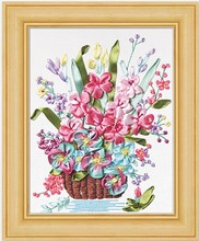 Spring flower Ribbon embroidery kit painting handcraft stain cross-stitch kits DIY handmade needlework wall art decor gift idea(China)