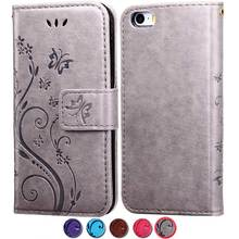Luxury Leather Case For iPhone 5S 5 SE Flip Coque + Silicone Phone Back Cover For iPhone5 5 S 5SE 3D Flower Pattern Wallet Stand