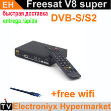 [Genuine]Freesat V8 Super dvb-s2 hd powervu box satellite receiver support Cccam youporn youtube scart IPTV set top box receptor(China)