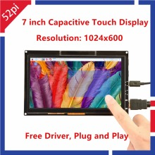 52Pi Free Driver 7 inch 1024*600 Capacitive Touch Display Screen Monitor for Raspberry Pi/Windows/Beaglebone Black Plug and Play