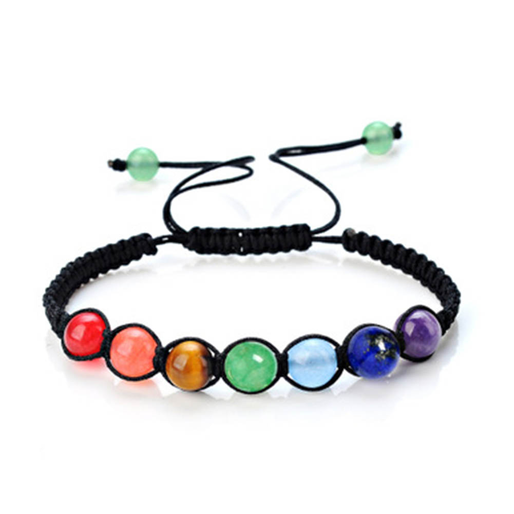 2017 DIY 7 Colorful Natural Stone Beads Crystal Chakra Bracelet For Women Braided Rope Bracelets Reiki Spiritual Yoga Jewelry(China (Mainland))