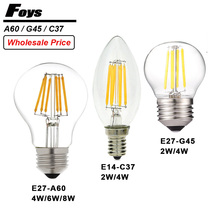Wholesale A60 G45 C37 LED bulb E14 E27 220V dimmable bombillas LED filament Candle light warm/cold white Chandelier crystal lamp