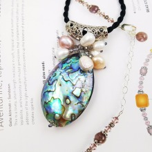LiiJi Unique New Natural Shell Colorful Abalone Shell Freshwater Pearl Pendant with Black Silk Rope Necklace