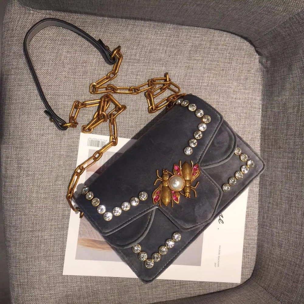 velour messenger bag beading bees bags gold chains flap bags women handbags blue black grey green color 2017 new <br>
