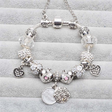 No Logo New Exquisite Charms Beads Fit Original Bracelets & Bangles Loveheart White Bracelets DIY Valentine's Day Gifts
