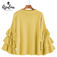 AZULINA Layered Sleeve Flouncy Pullover Sweater Women O Neck Flare Sleeve Ruffle Autumn Ladies Sweet Basic Loose Knitted Sweater(China)