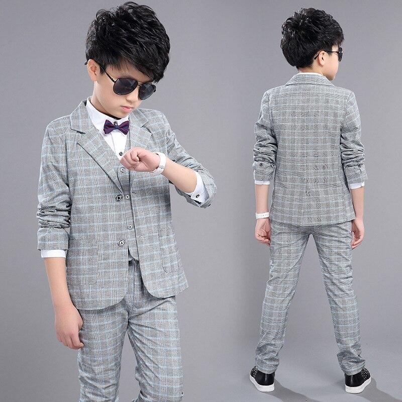 Children cotton clothes sets 2017 new spring style infant clothing big boys plaid suit autumn kids fashion three pieces suits<br>