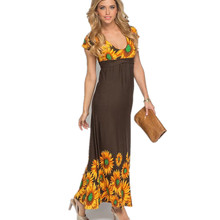 Blue Bohemian Floral Sunflower Dress Clothing Women Retro Long Knitted Summer Dresses 2017 New Big Size Clothes XXL XXXL 5XL 4XL(China)