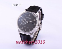 43mm Parnis black dial leather strap date adjust power reserve seagull 2530 Automatic movement men's watch
