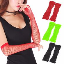 1 Pairs New Crochet Lace Punk Gothic Disco Costume Long Fishnet Dance Mesh Fingerless Gloves Three Pure Colors(China)