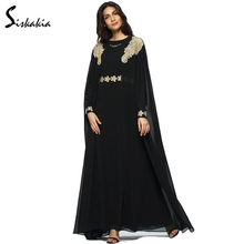 Siskakia Chiffon Long Sleeve Cloak robes women Abaya Middle East muslim islam UAE loose Embroidery gowns Autumn Winter 2017 New