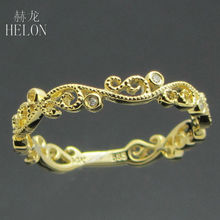 HELON Jewelry Promotion Solid 14K YELLOW Gold Natural Diamonds HALF Eternity Band MILGRAIN Wedding Anniversary jewelry Ring