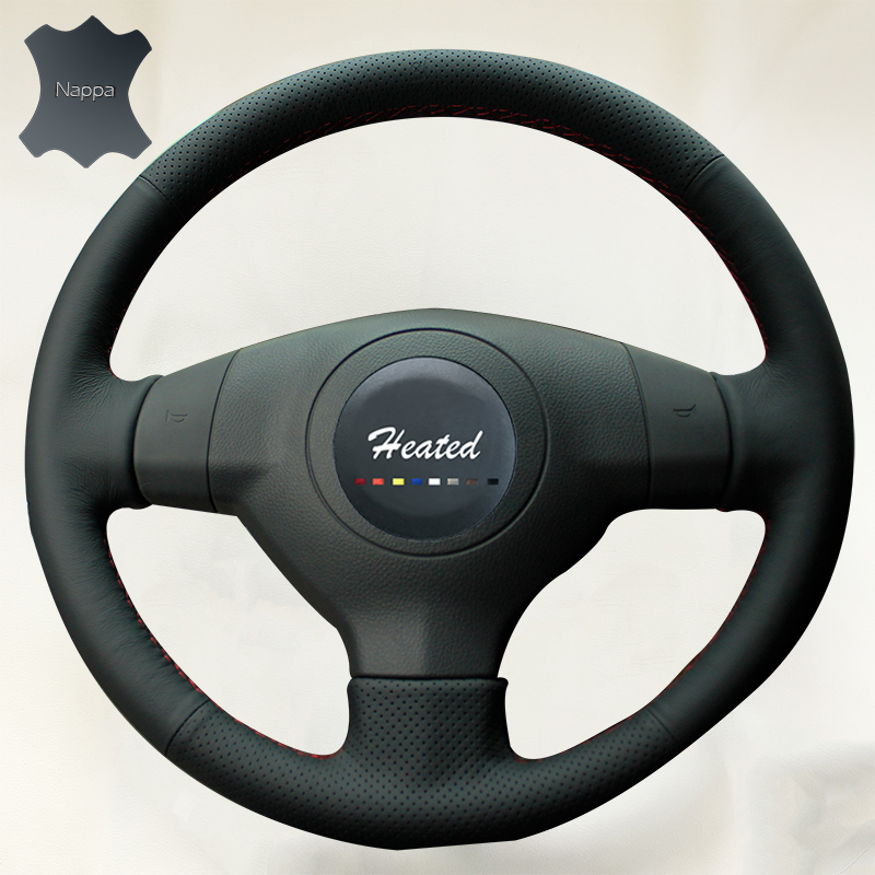 Luxury Hand Sewing Anti-slip Breathable Nappa Leather Stitch On Car Steering Wheel Cover for Suzuki SX4 Alto Old Swift()