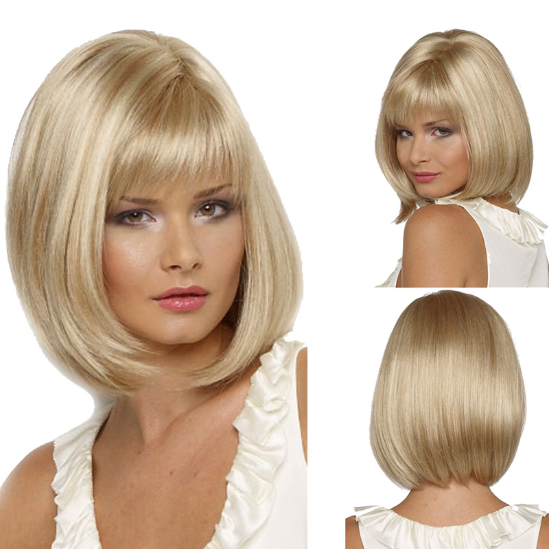 Fashion Charm Lady Short Curly Light Blonde Wig Women High Quality Heat Resistant Synthetic BoB Head Hair Wigs Free wig cap<br><br>Aliexpress