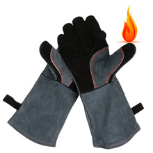 Leather Oven Grill BBQ Gloves, Extreme Heat Resistant Cooking Baking Barbecue Grilling Glove/Mitts - 16 inches Long Sleeve(China)
