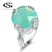 GS Fashion Green Opal Crystal Silver Plated Ring Wholesale & Retail Rings for Women Party Engagement Jewelry Rings Size 6-10