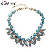Bohemian Jewelry Tide Joker Female Joyas Best Selling Blue Resin Short Necklace Factory Wholesale(China)