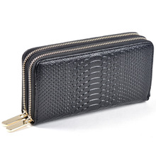 fashion women wallets genuine leather wallet two double zipper design Crocodile Grain Embossed Female high quality Clutch purse(China)