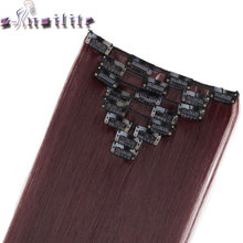 "S-noilite 24"" 8 Pieces/set Long Striaght 180g Clip in on Natural Hair Extensions Full Head Real Synthetic Black Brown Blonde Red"