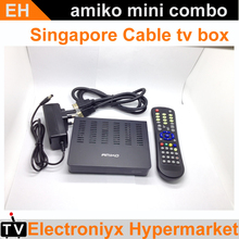 3PCS 2017Singapore Starhub Cable TV Set Top Box Amiko mini combo dvb-c cable receiver with HD PVR WIFI watch mio for Singapore