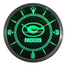 nc0505 Green Bay Packers Neon Sign LED Wall Clock