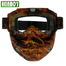 Special Design Motocross Mask Goggles Glasses Helmets Face Dust Mask With Detachable Motorcycle Camouflage Goggles Glasses(China)