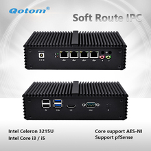 Qotom-Q330G4 / Q350G4 Fanless Mini PC Computer Core I3 4005U / I5 4200U Mini Server Industrial PC Support Pfsense AES-NI pfSense(China)