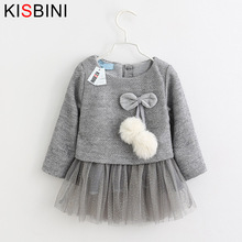 KISBINI Baby Girl Dress 2017 New Casual Autumn Baby Clothes Long Sleeve Plaid Straps Two Piece Dress Baby Girl Clothes Ball Gown(China)
