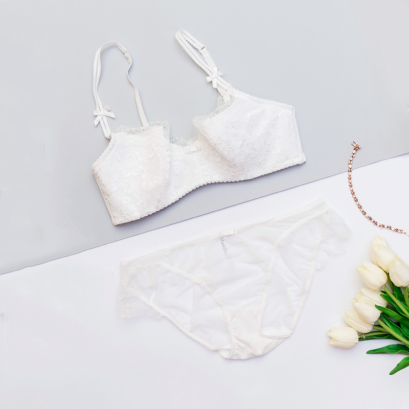 18 New Arrival Girls Underwear Set Push-up Thin Cotton Half Cup Lace Bra And Panty Set Women Lingerie Big Size Bra set 12