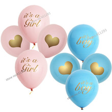 12pcs/lot Baby shower balloon with gold glitter shiny writting its a girl it's a boy oh baby printed light pink blue ballons(China)