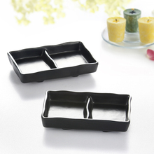 Japanese restaurant sushi divided plates soy sauce divided dishes for sale black condiment plate high quality plastic plate