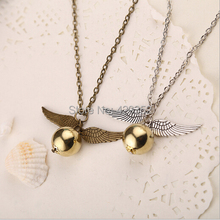 Wholesale Movie Jewelry Harry The Golden Snitch Necklaces Fashion Chain Necklace Silver And Bronze Wing Pendant 24pcs/lot(China)