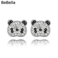 BeBella women crystal panda earrings made with Czech crystals for Christmas gift(China)