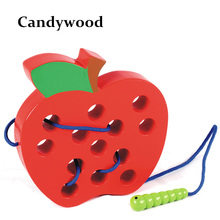 Candywood 2017 New baby early learning&educational wooden Threading toy worm eat apple Maze toy wooden puzzle toys for childen(China)