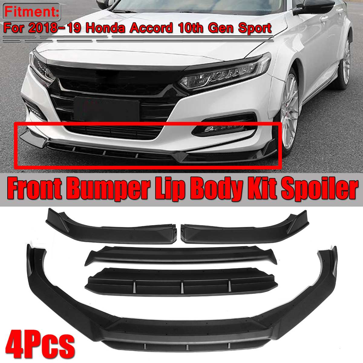 Front Bumper Lip Canard Splitter Diffuser Flippers For Honda Accord Civi Sedan