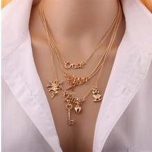 Owl key angel English letters multi layer  necklace  Fashion jewelry  wholesale