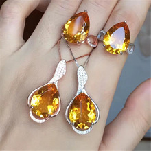Gold jewelry Brazil natural yellow crystal set 925 silver jewelry ring pendant jewelry