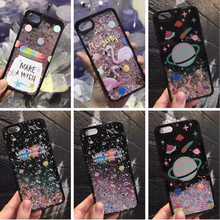 NEW Glitter dinosaur bear flamingo candy jar Starry Sky Space Ship Liquid sand Quicksand phone Case cover For iPhone 7 6 6S Plus