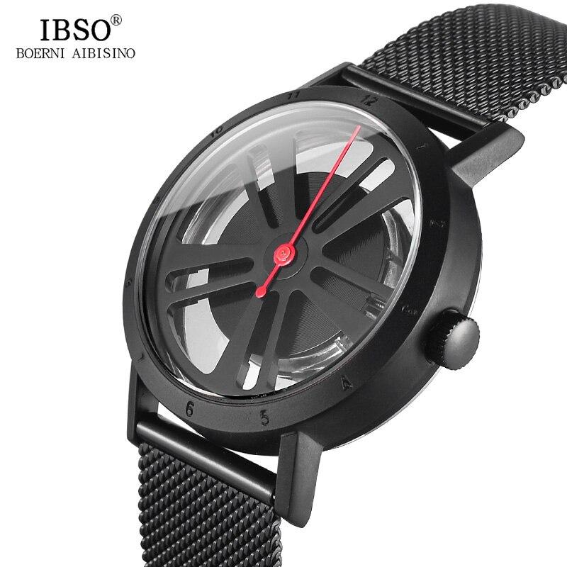 IBSO 2018 Men Watches Rotate Creative Black Transparent Openwork Top Brand Luxury Stainless Steel Watches Quartz Mens Wristwatch<br>